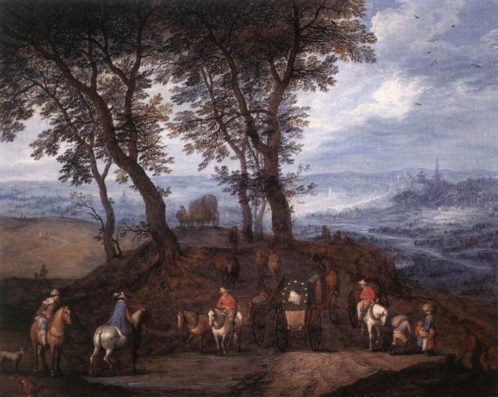Jan Bruegel The Elder. Travellers in transit