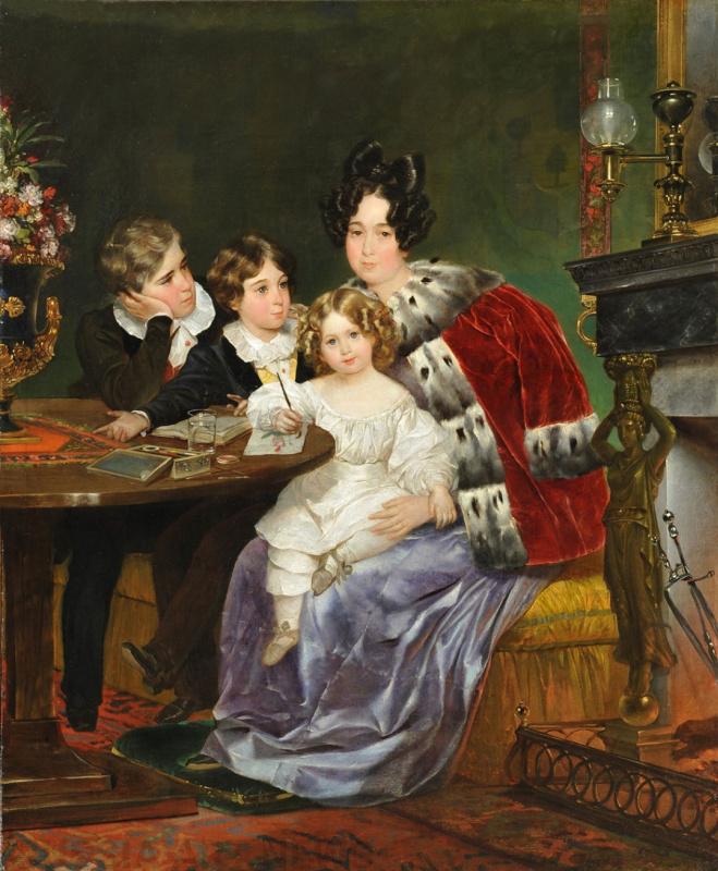 Портрет Е. П. Гагариной с сыновьями Евгением, Львом и Феофилом