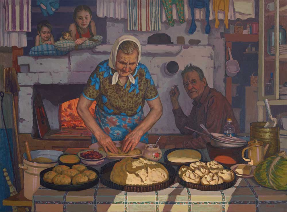 Pavel Popov. Grandma's pies 130x100cm. 2014