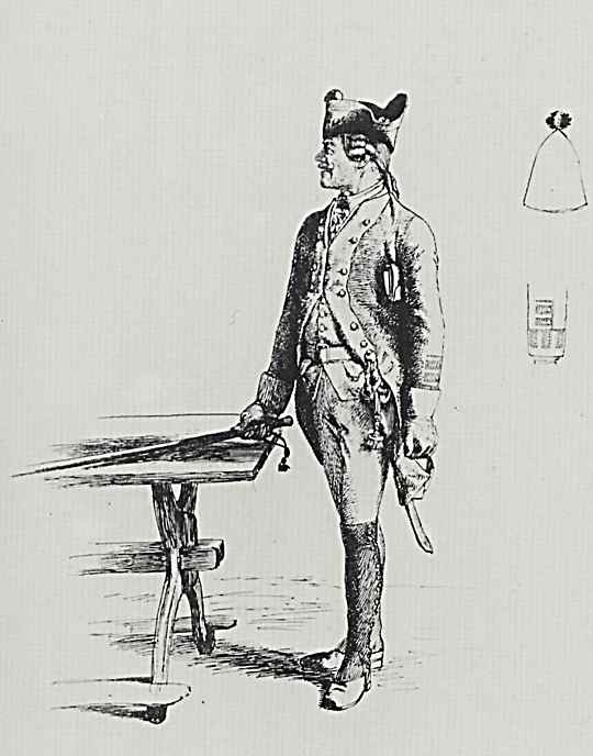 Адольф фон Менцель. Унтер-офицер, стучащий по столу тростью