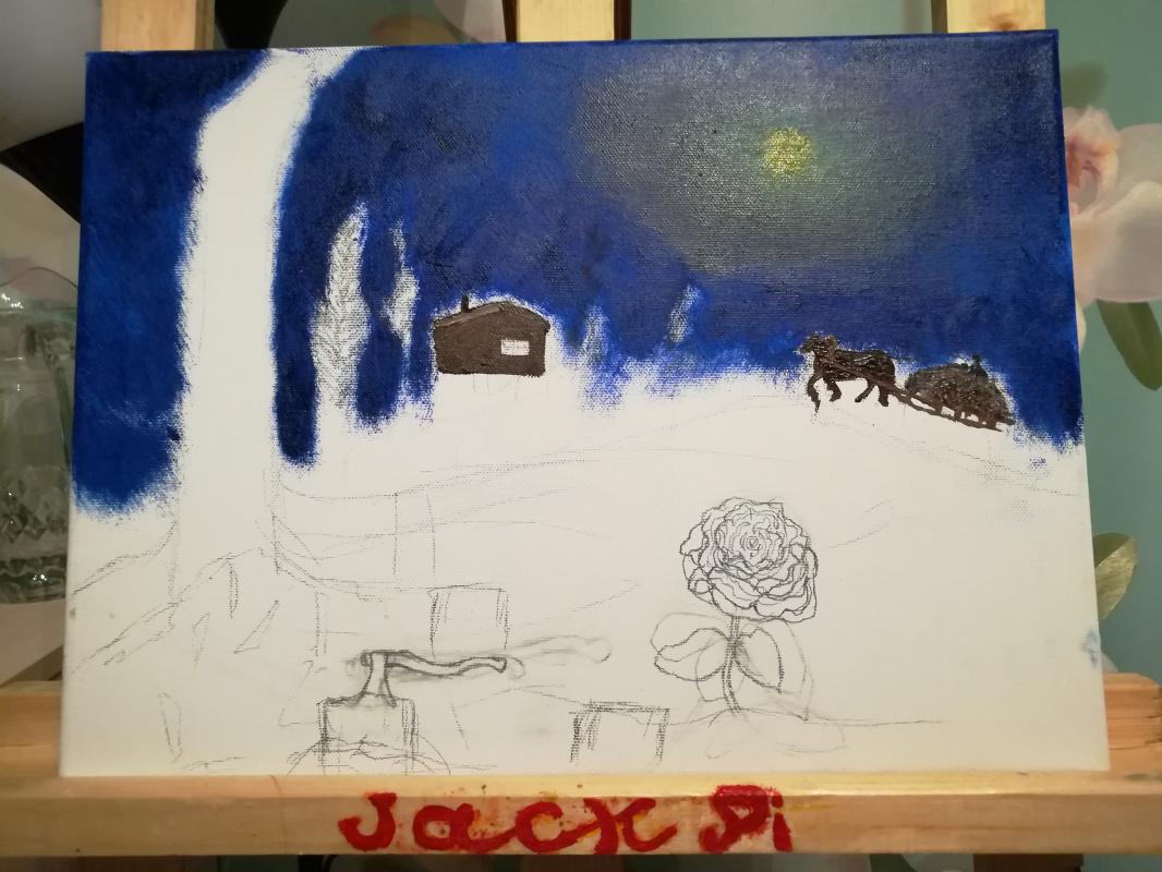 Картина зима под луной