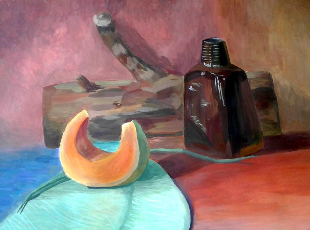Julia Sergeevna Bochkareva. Still life with a log, bottle and pumpkin