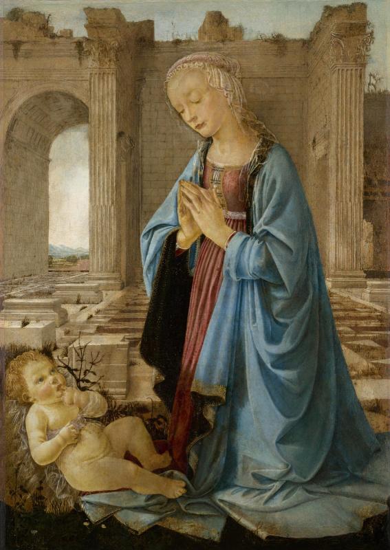 Андреа дель Верроккьо. Мадонна над младенцем Иисусом (Мадонна Раскина)