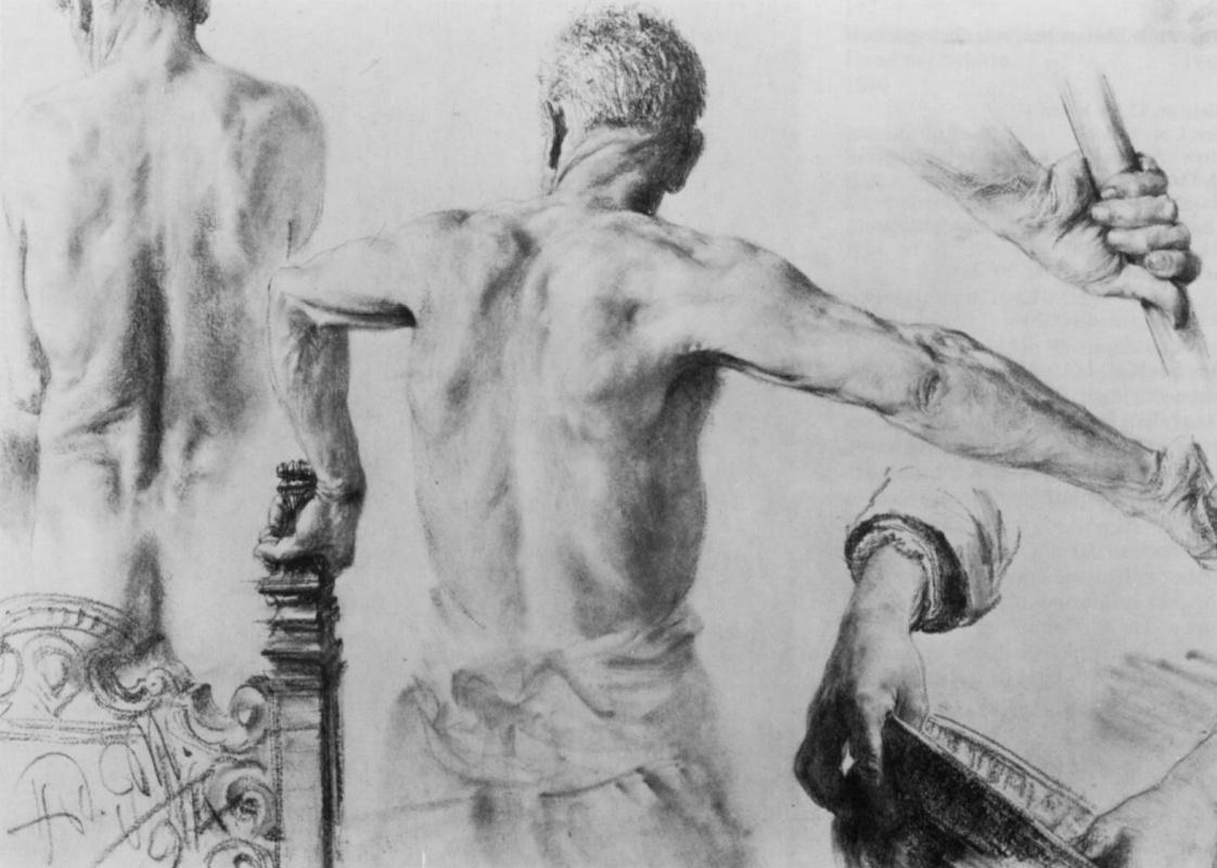 Адольф фон Менцель. Лист этюдов: Обнаженный со спины и этюд руки