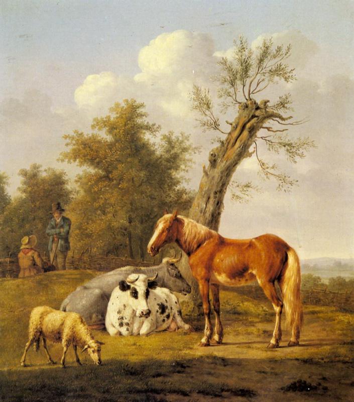Энтони Оберман. Коровы лошади и овцы. Отдых под стволом дуба
