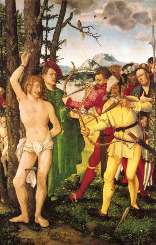 Ханс Бальдунг. Алтарь св. Себастьяна, центральная часть, мученическая смерть св. Себастьяна
