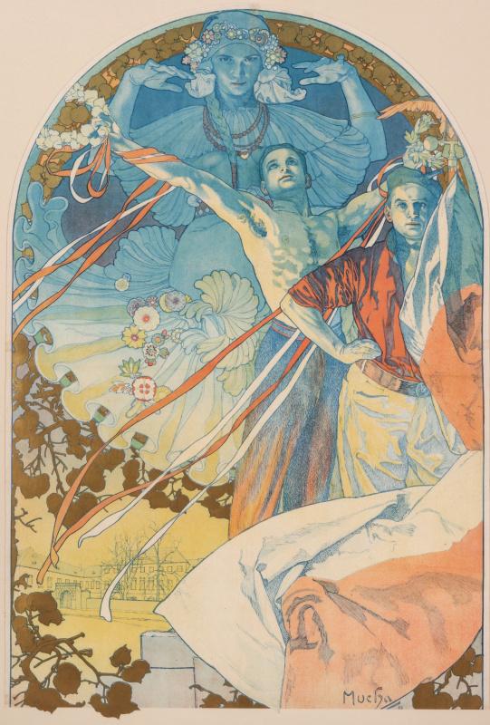 Альфонс Муха. Рекламный плакат для Восьмого фестиваля Сокол в Праге в 1926  году