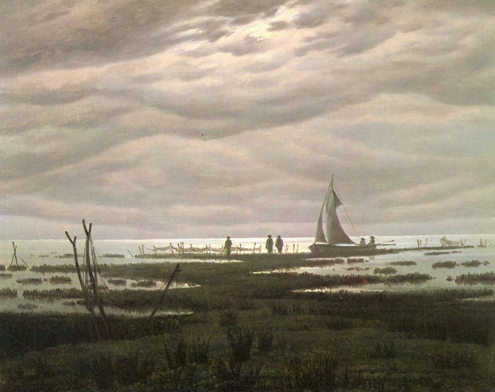 Caspar David Friedrich. Plain landscape. Evening on the Ostsee.