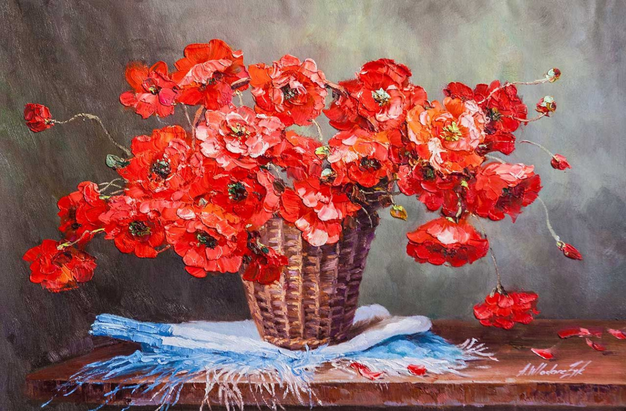 """Andrzej Vlodarczyk. """"Still life with oil"""" Bouquet of red poppies in a basket """""""""""