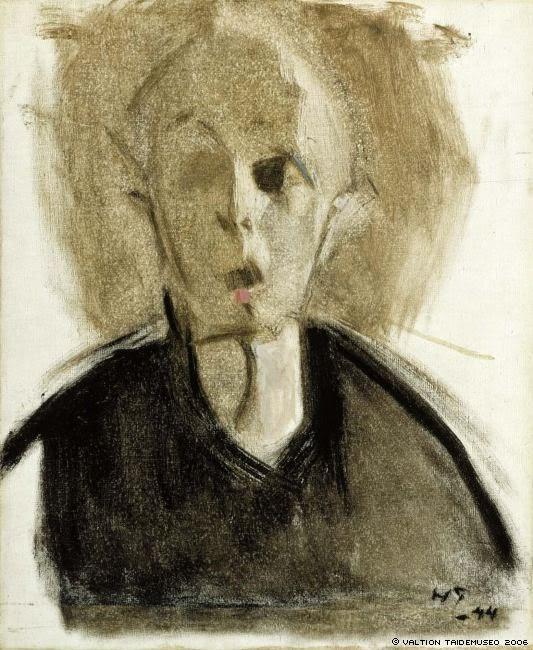 Элен Шерфбек. Автопортрет с красной точкой