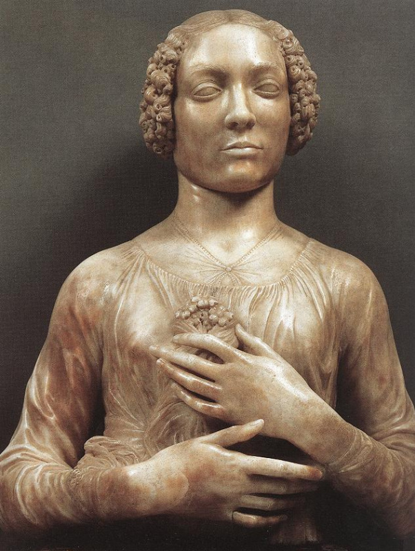 Andrea del Verrocchio. Woman with bouquet of flowers