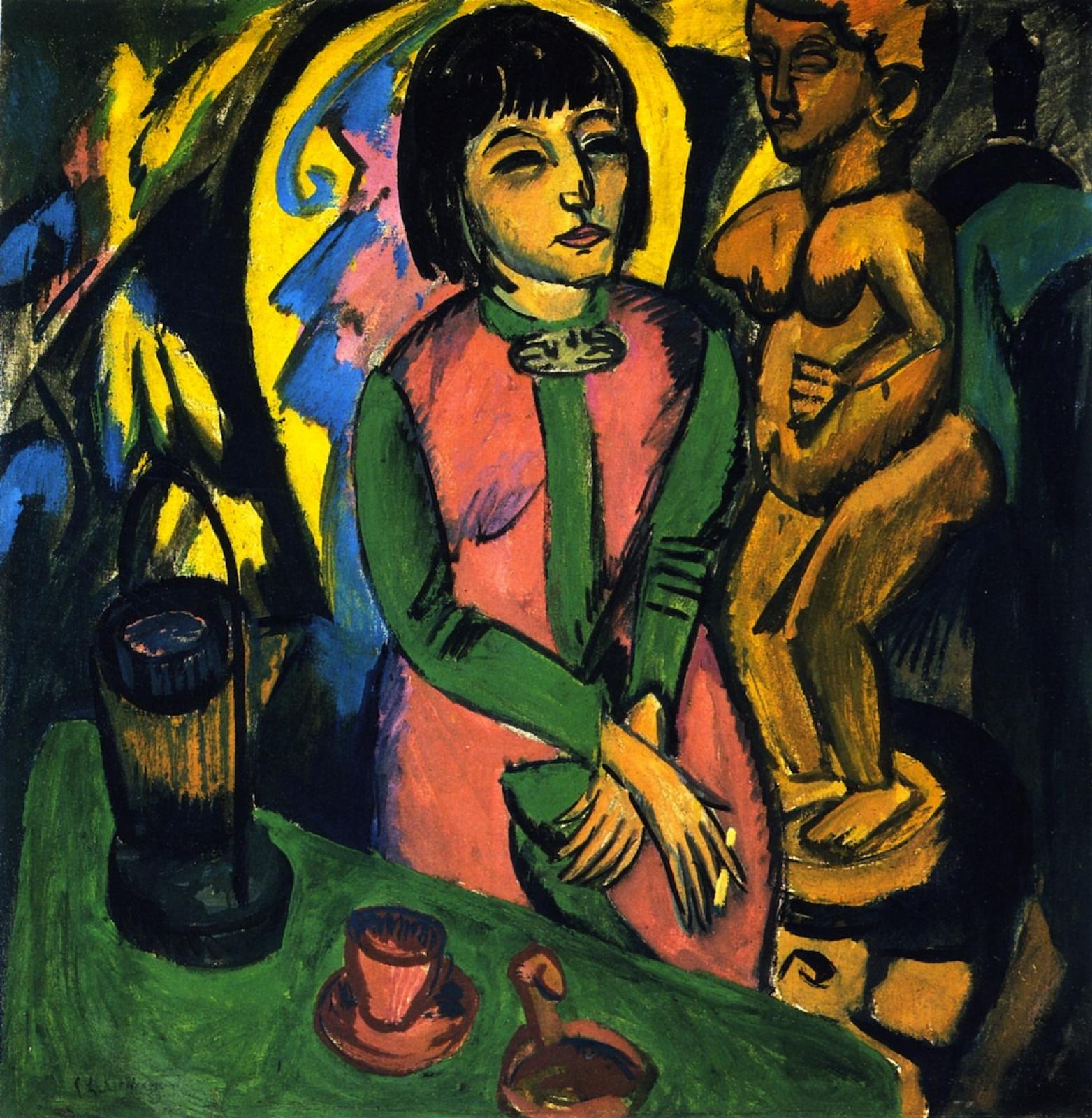 Ernst Ludwig Kirchner. Portrait of a woman near a wooden sculpture