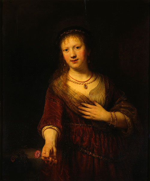 Rembrandt Harmenszoon van Rijn. Saskia with a red flower