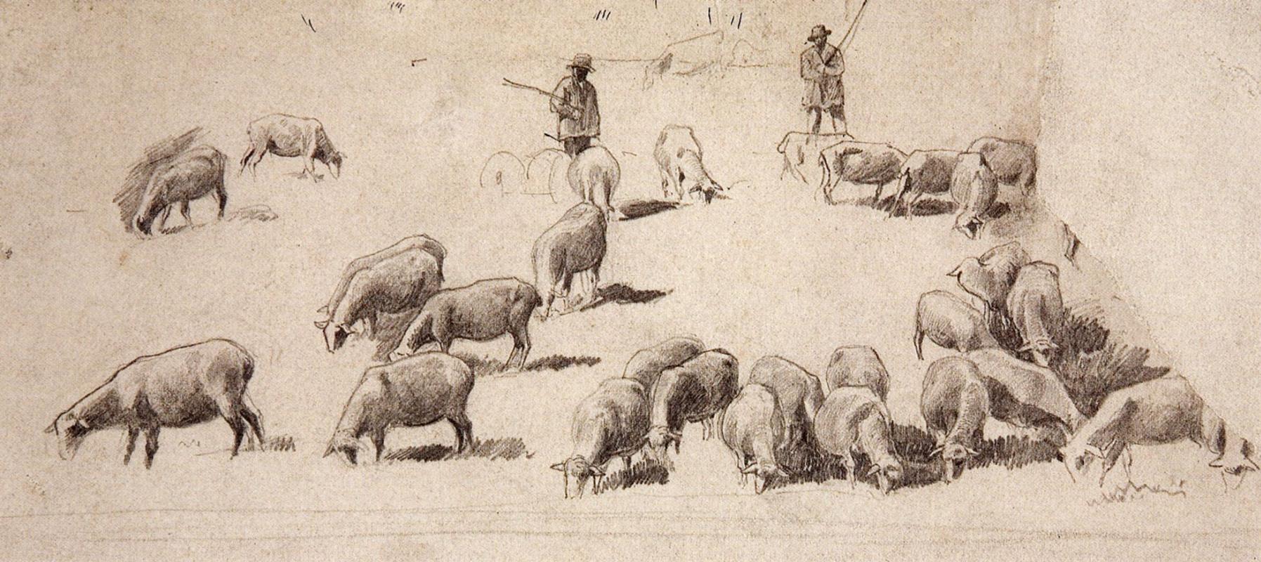 Ivan Shishkin. A flock of sheep