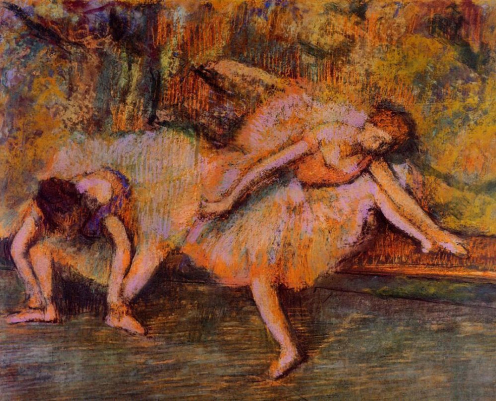Edgar Degas. Two dancers on a bench