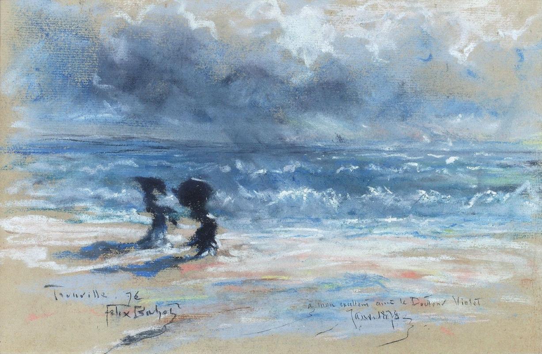 Феликс  Бюо. Две женщины на пляже в Трувиле