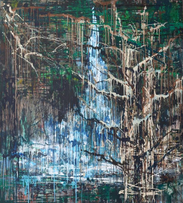 "Tanya Vasilenko. ""Rain forest music"". Acrylic. Canvas. Rainy music of forest. Acrylic on Canvas."