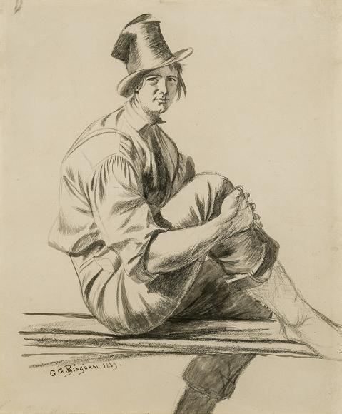 Джордж Калеб Бингем. Лодочник (рисунок к картине «Лодочники на Миссури»)