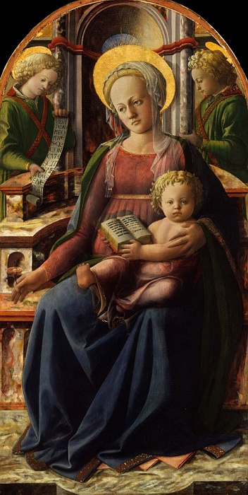 Fra Filippo Lippi. Madonna and child enthroned with two angels