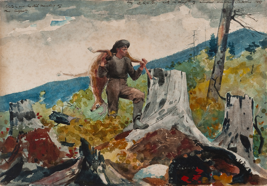 Winslow Homer. The conductor, carrying a deer