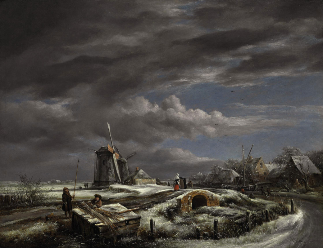 John Constable. Winter landscape with bridge and windmill