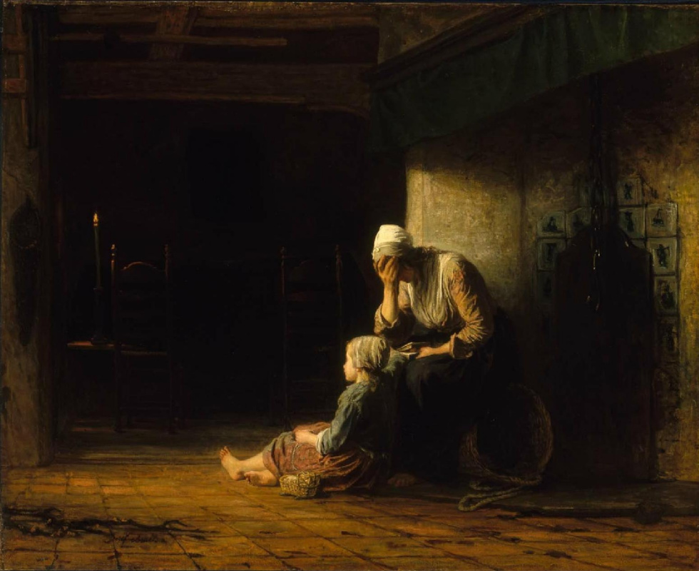 Joseph Israel. The night before parting. The fisherman's widow on the eve of the funeral