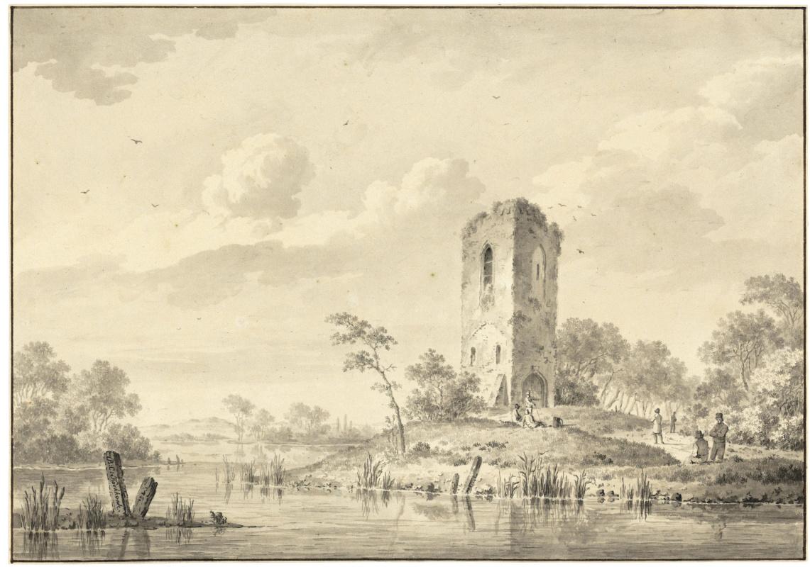 Barend Cornelis Kukkuk. River landscape in Zeeland with a ruined tower