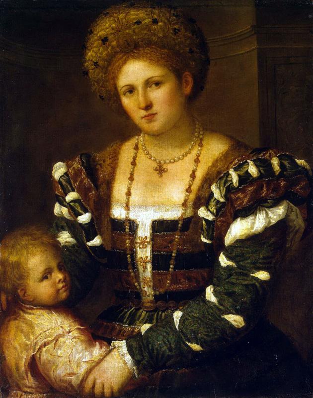 Paris Bordon. Portrait of a lady with a boy