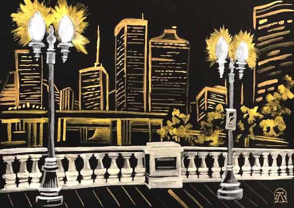 Larissa Lukaneva. Night city. Balustrade. Sketch.