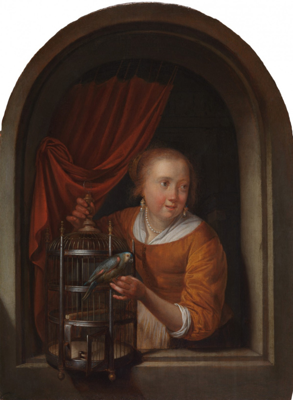Gerrit (Gerard) Dow. A young woman in a niche with a parrot and cage