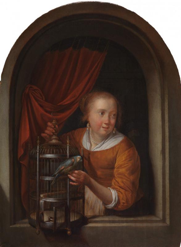 Геррит (Герард) Доу. Молодая женщина в нише с попугаем и клеткой