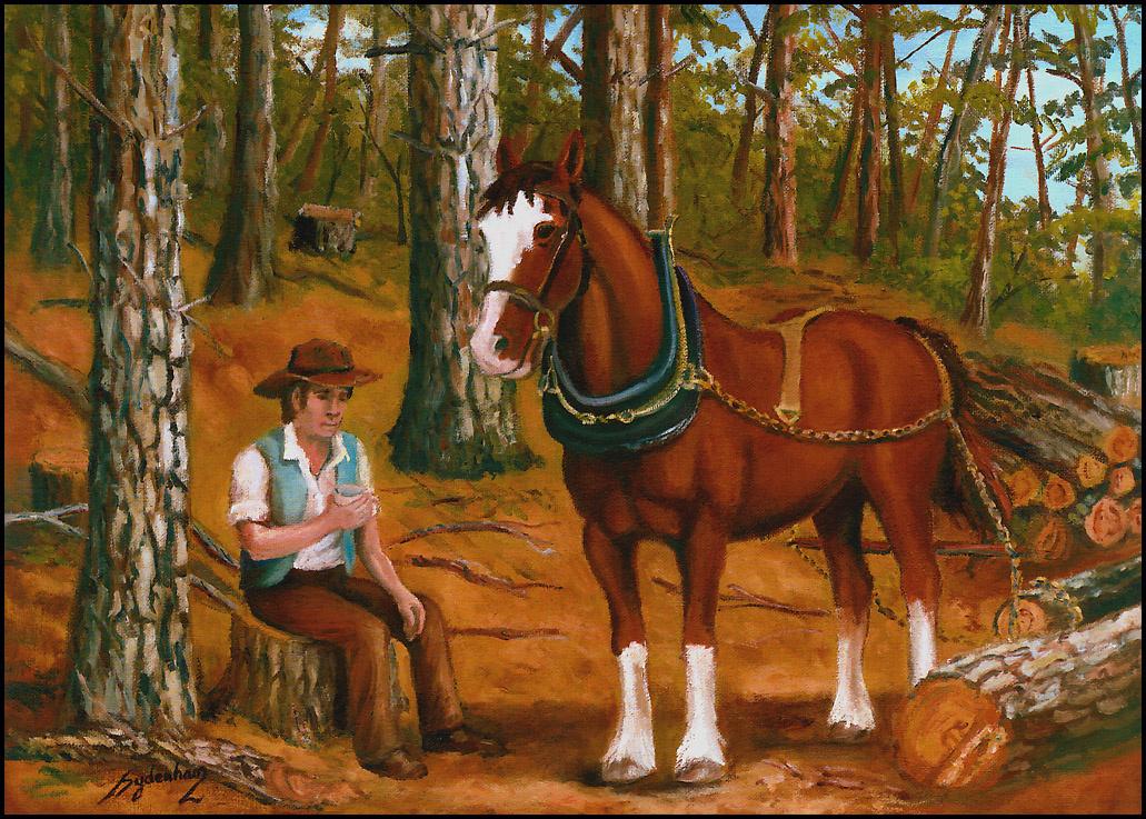 Дениз Сиденхам. Лесоруб с лошадью