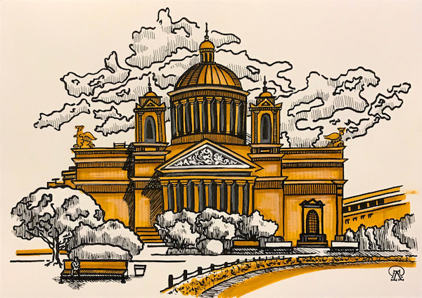 Larissa Lukaneva. Cathedral. Sketch.