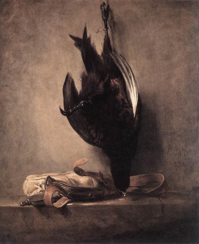 Жан Батист Симеон Шарден. Натюрморт с убитым фазаном и охотничьей сумкой