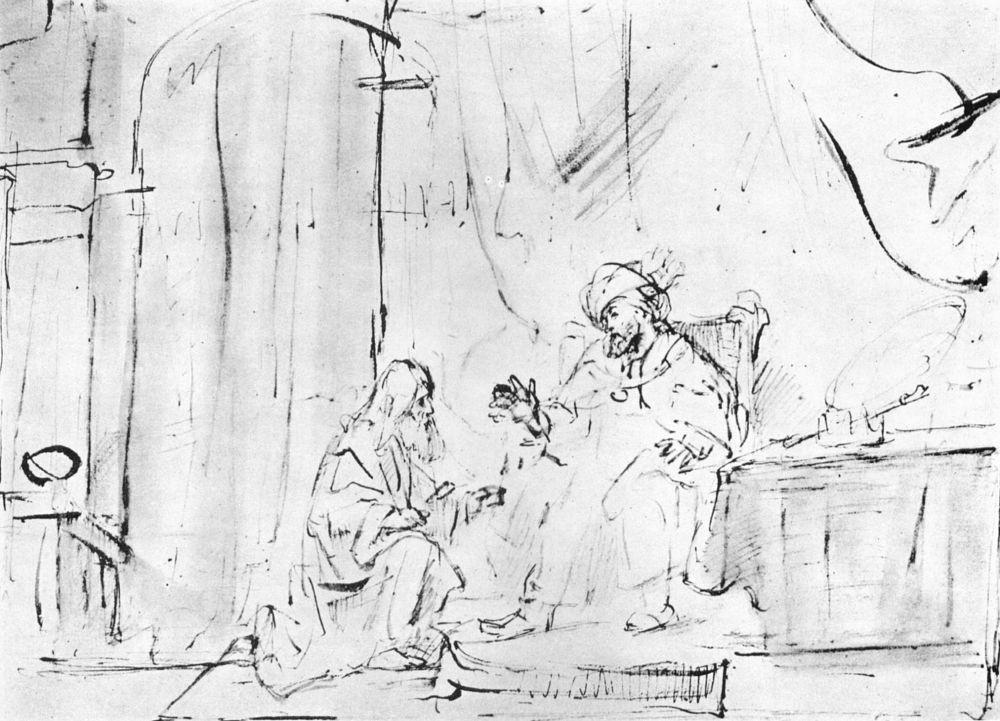 Рембрандт Ван Рейн. Пророк Нафан перед Давидом