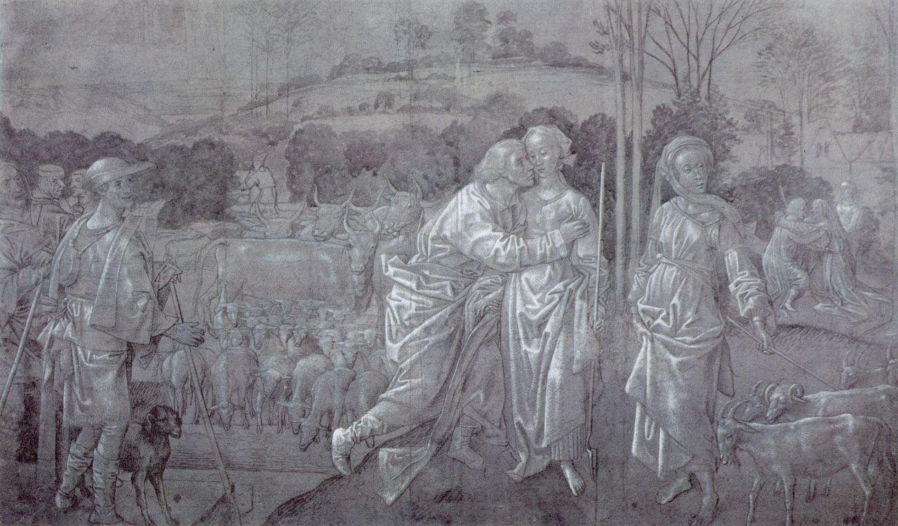 Хуго ван дер Гус. Встреча Иакова и Рахили