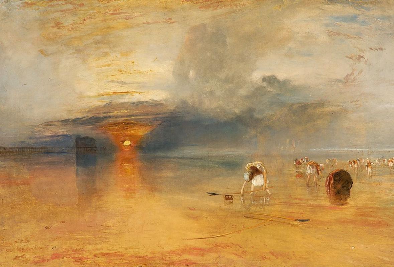 Джозеф Мэллорд Уильям Тёрнер. Побережье Кале в отлив. Торговки, собирающие наживку для рыбной ловли