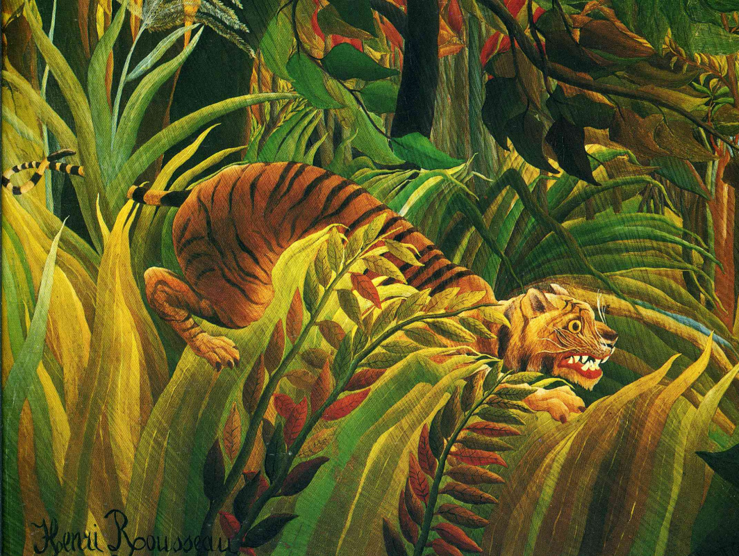 Henri Rousseau. Tiger in a tropical storm. Fragment