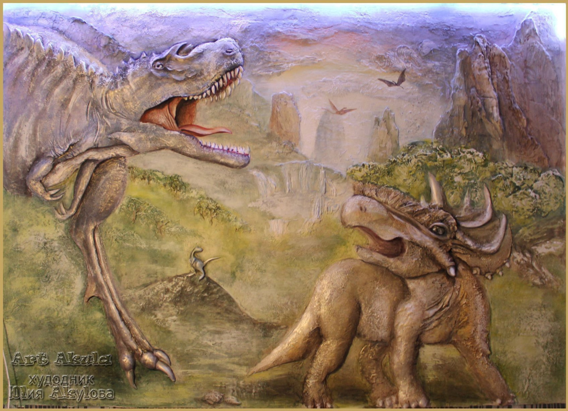 """Julia Akulova. The bas-relief of """"dawn of the dinosaurs"""""""