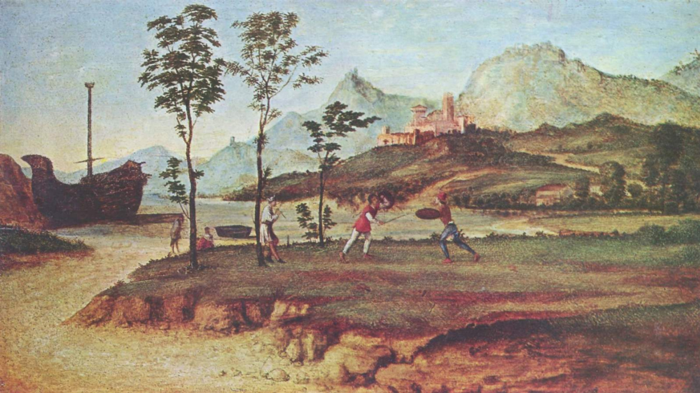 Giovanni Battista Cima da Conegliano. The coast with two fighting men
