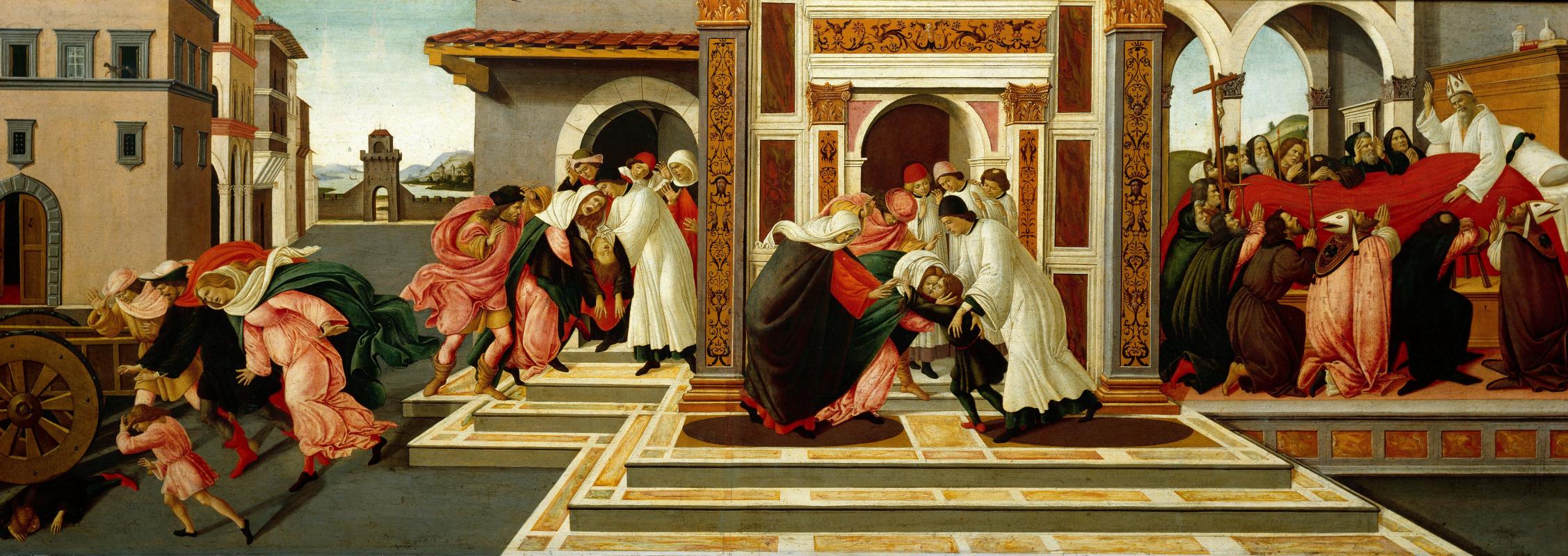 Сандро Боттичелли. Четыре сцены из жизни Святого Зиновия. Последнее чудо и смерть святого