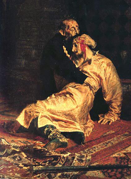 Илья Ефимович Репин. Иван Грозный и его сын Иван 16 ноября 1581 года. Фрагмент.