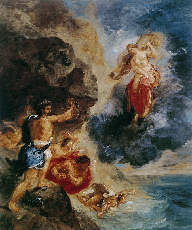 """Eugene Delacroix. Juno and Eolus (From the series """"Four seasons"""". Winter)"""