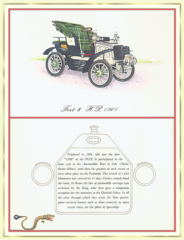 Лионель Моррис. Серия ретро-автомобили. 1901 Фиат 1100