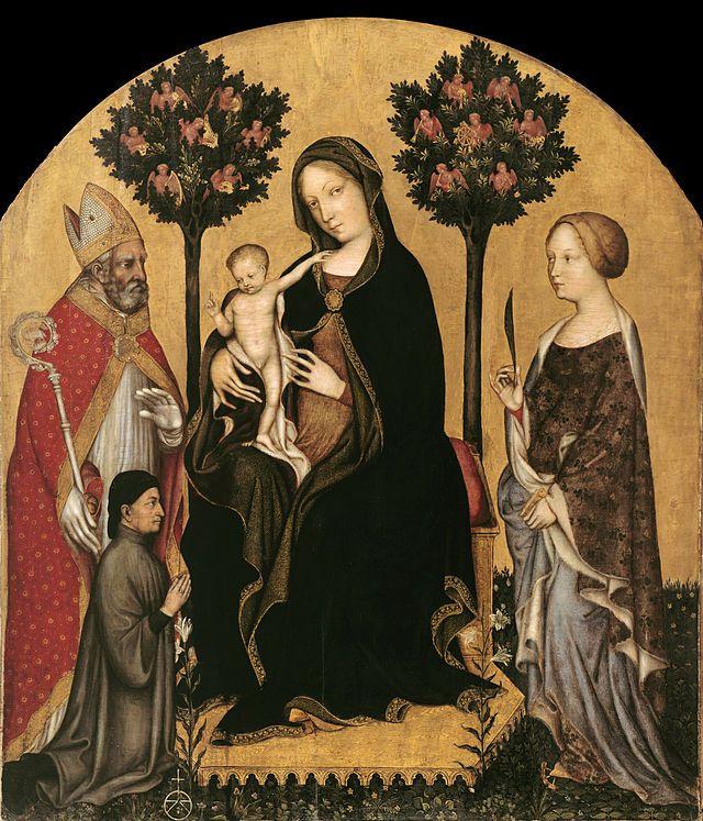 Gentile da Fabriano. Madonna with St. Nicholas of Myra, Saint Catherine of Alexandria and a donor
