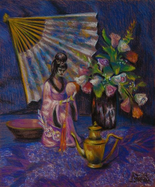 Larissa Lukaneva. Still life with porcelain statue