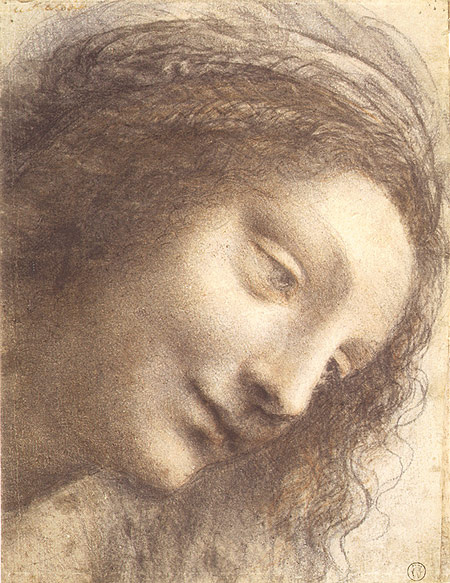 """Leonardo da Vinci. Head of the Madonna (Sketch for the painting """"Madonna and child with St. Anne"""")"""