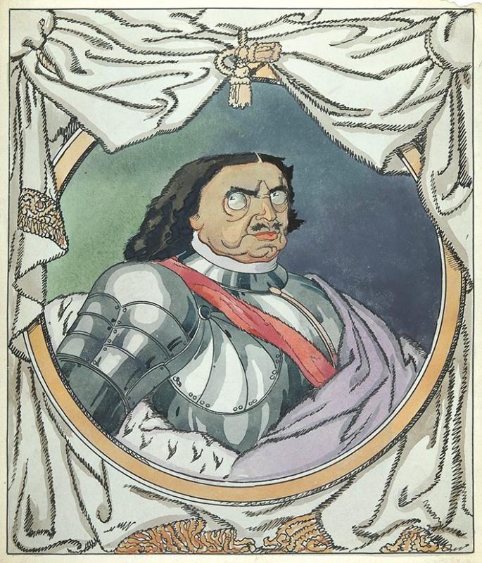 Дмитрий Стахиевич Моор (Орлов). Шаржированный портрет императора Петра I.   Ватман,  перо