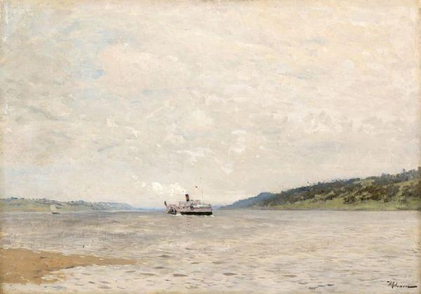 Isaac Levitan. Steamer on the Volga