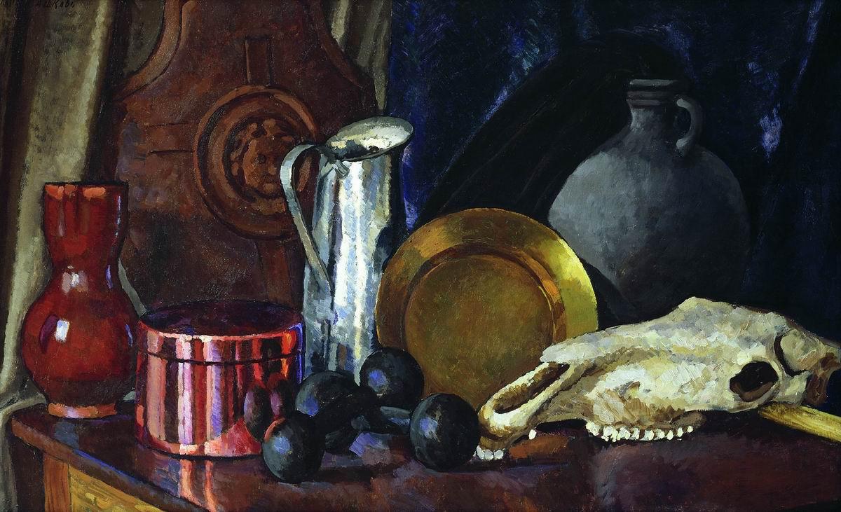 Ilya Ivanovich Mashkov. Still life with a horse's skull. 1914